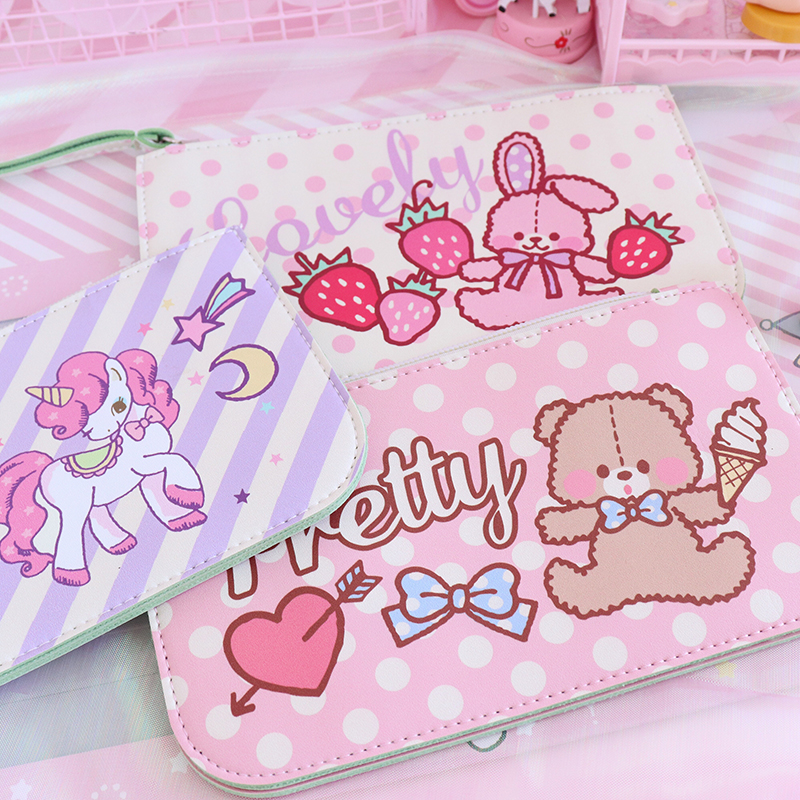 1Pc Lovely Rabbit Bear PU Leather Coin Purses Handbag Cosmetic Storage Bags Girls Gifts