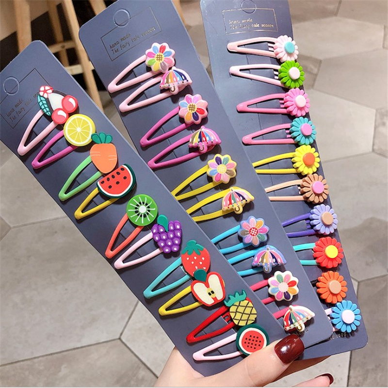 10Pcs/Set Girls Hair Accessories Flower Hair Clip Fruit Barrette Snap Bobby Pins Dripping Hairpin Cute Headdress Kids Hairclips