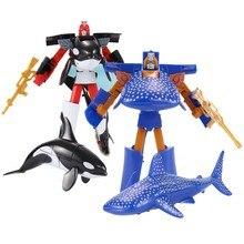 2Pcs Ocean Animals Kunststoff Marine Transformation Roboter Spielzeug für