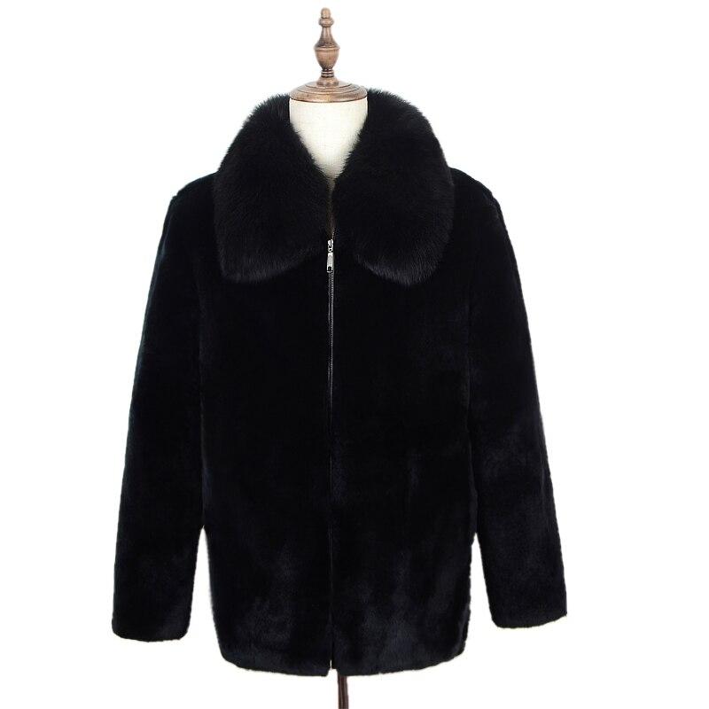 2019 new real rabbit fur full fur men's jacket thickening men's casual fur one fox fur collar collar hooded