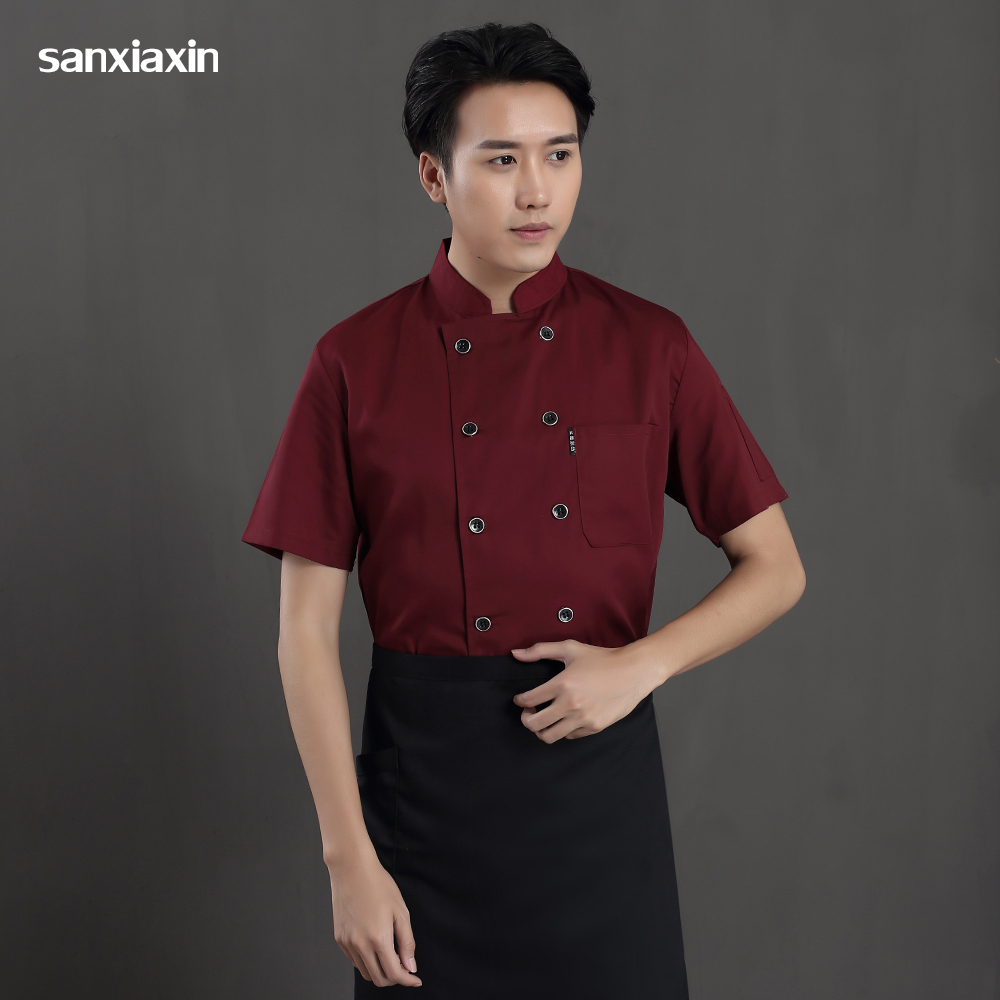Unisex Double breasted Chef overalls M-4XL new sale kitchen Restaurant Catering jackets Chef shirt hotel Waiter Sushi costume