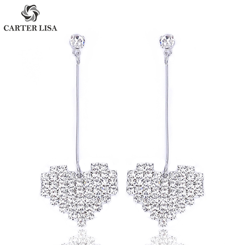 Carter Lisa Elegant Long Heart Style Rhinestone Pave Drop Dangle Statement Earings For Women Boho Fashion Jewelry Pendientes