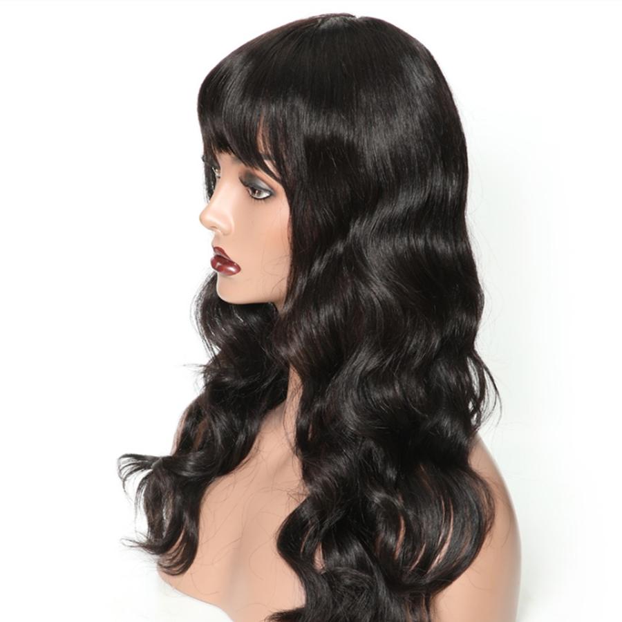 Brazilian Loose Wave Human Hair Wigs With Bang Brazilian Hair Non Remy Long Wig 130% 1B And Burgundy