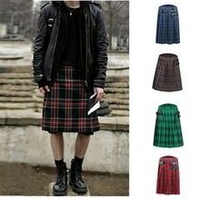 Fashion Mens Scottish Skirt Kilt Traditional Skirts Mans Adjustable Waisted Casu