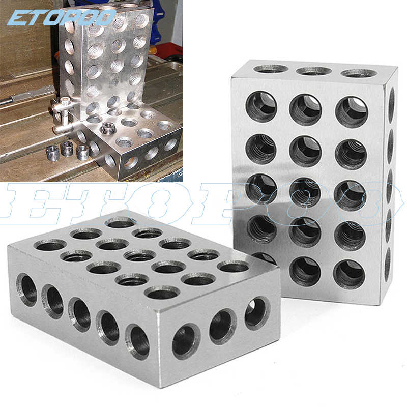 "25-50-75mm 1 Matched Pair Ultra Precision Blocks 23 Holes .0001/"" Machinist"