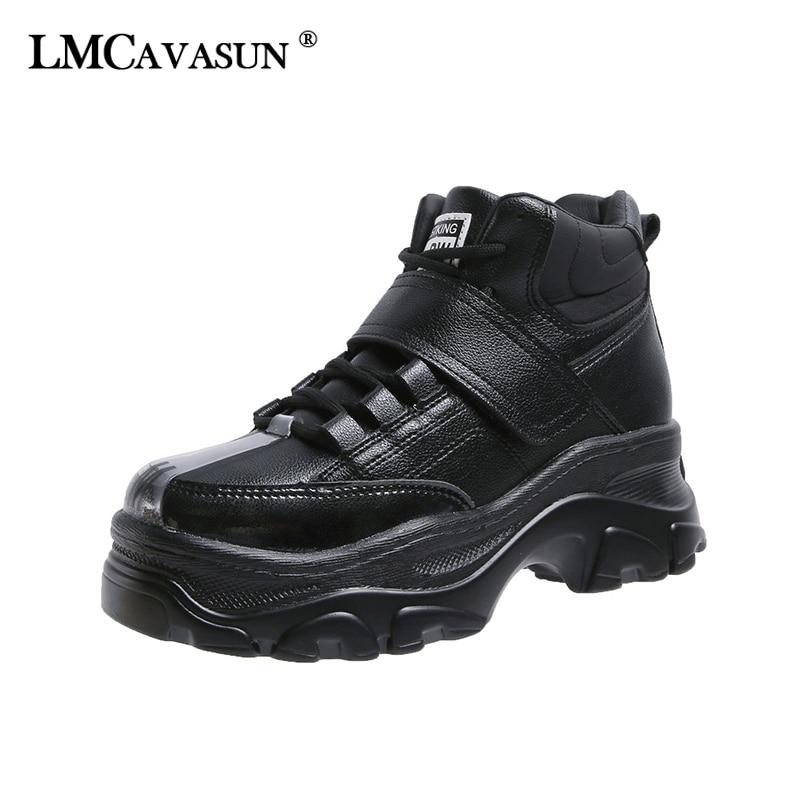Women High Heels Sport Ankle Boots Creepers Platform Wedge Hip Hop Sneaker V451