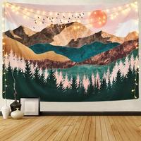 Psychedelic Wald Sonne Und Berg Tapisserie Wandbehang Startseite Wohnheim Hintergrund Decor Kunst Tapisserie WallCarpet Tapisserie Hippie Tuch