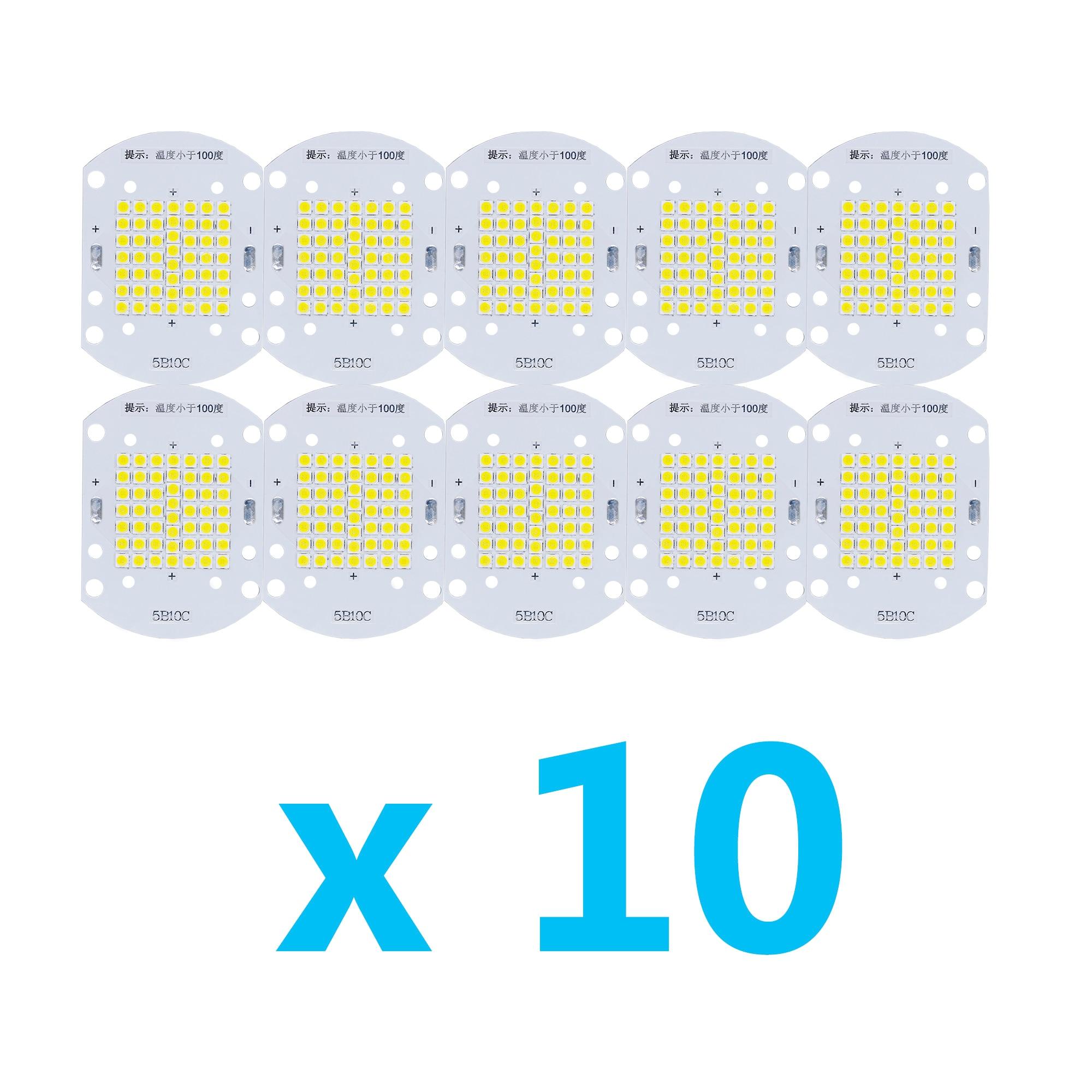 10 Uds. Mucho de alta potencia 50W LED Bombilla 3030SMD Chip blanco 30-34V lámpara para exterior Interior reflector para DIY LED