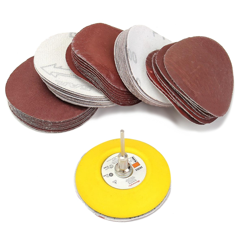 (75mm) Loop Hook Sanding Pad Shank + 60Pcs Flocking Sand Paper Kit