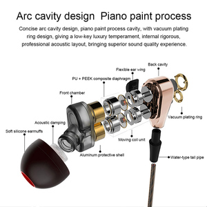 Amorno двойной подвижной катушкой наушники-вкладыши четыре динамика двойные динамические наушники HiFi гарнитура встроенный микрофон проводной 3,5 мм наушник