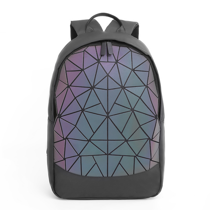 Women Luminous Backpacks Geometric Laptop Backpack For Men Shoulder Backpack School Holographic Rucksack Female Trave School Bag