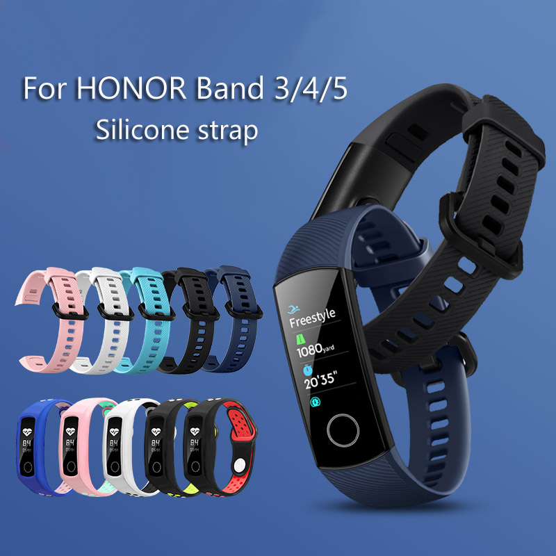 Two-color Soft Silicone Strap For Honor Band 4 / 5 / 3 Sports Strap Porous Ventilation Colored Bracelet Honor Band 4 Strap