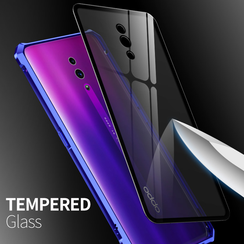 Luxury Magnetic Bumper Cover For OPPO Reno 10X Zoom Phone Frame Metal Shockproof Armor Clear Glass Back Cover Reno 10X Zoom Case in Phone Bumpers from Cellphones Telecommunications