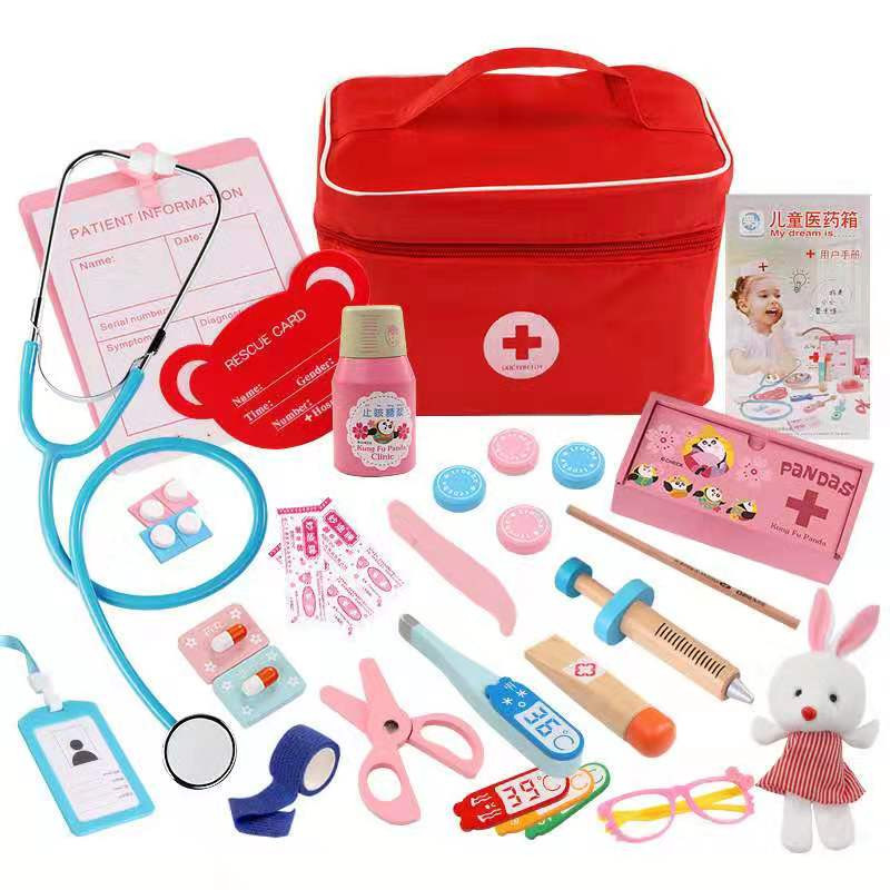 Children's Wooden Quality Simulation Medical Toy Bag Medicine Box Baby Boy Girl Play House Simulation Doctor Injection Toy Gift