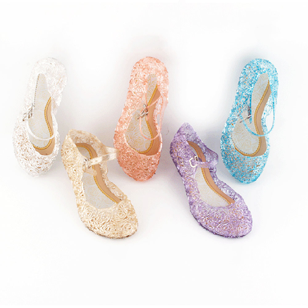 Pudcoco Kids Baby Girls Summer Crystal Sandals PVC Transparent Jelly Princess Height Increasing Party Streetwear Holiday Shoes