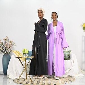 Opened abaya Hand made diamond beading Muslim Robe syari female full length purple cardigan Muslim abaya Worship Service abaya