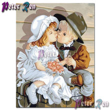 5d милая маленькая девочка мальчик целующийся Алмаз Вышивка