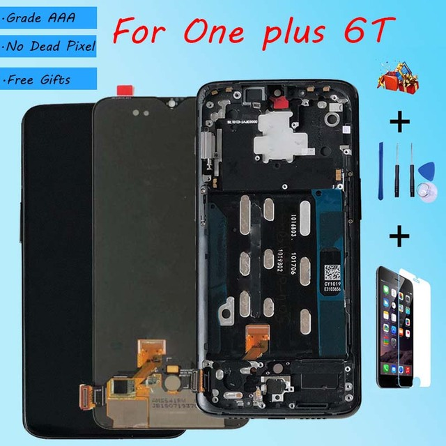 For OnePlus 6T  AMOLED Original LCD screen assembly and front case Matte Black  Bright black Free repair tools and Tempered film