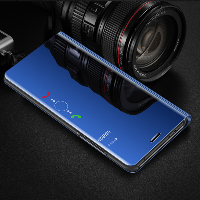 For <font><b>Huawei</b></font> y9 y7 y6 pro <font><b>prime</b></font> 2019 <font><b>2018</b></font> Mirror leather Stand Phone <font><b>Case</b></font> For <font><b>Huawei</b></font> <font><b>y</b></font> 9 7 <font><b>6</b></font> 5 Smart Mirror Flip Capa Cover Coque image
