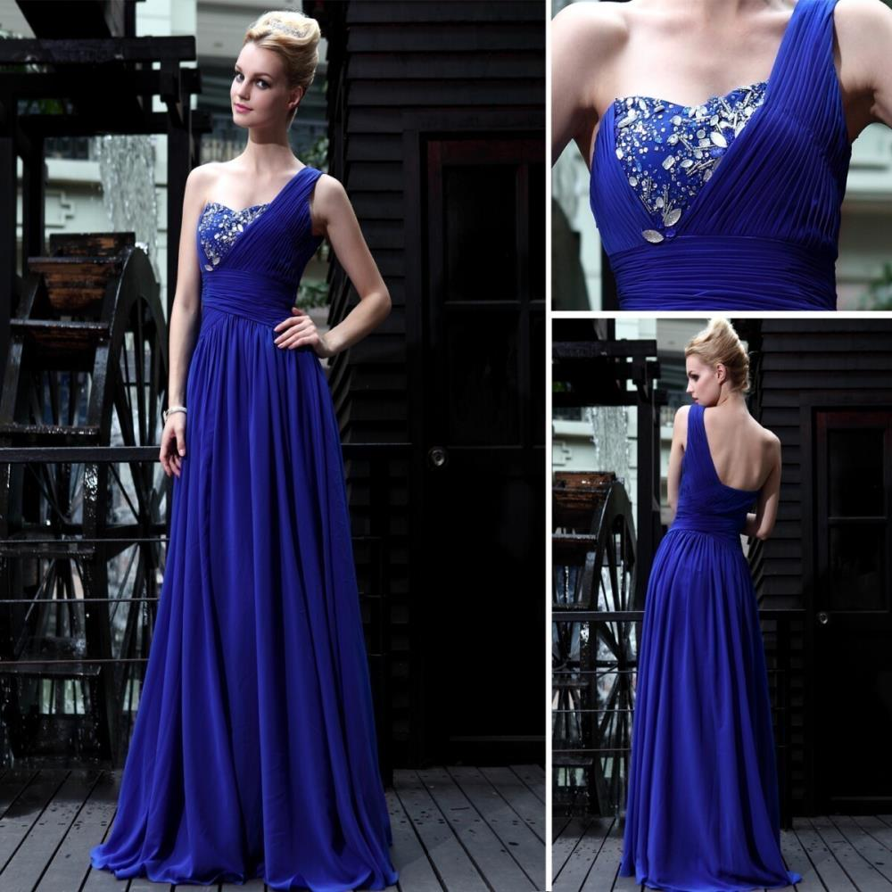 Free Shipping 2014 Banquet Sapphire Blue One Shoulder With Diamond Fashion Hot-selling Brides Maid Dresses Women Evening Dresses