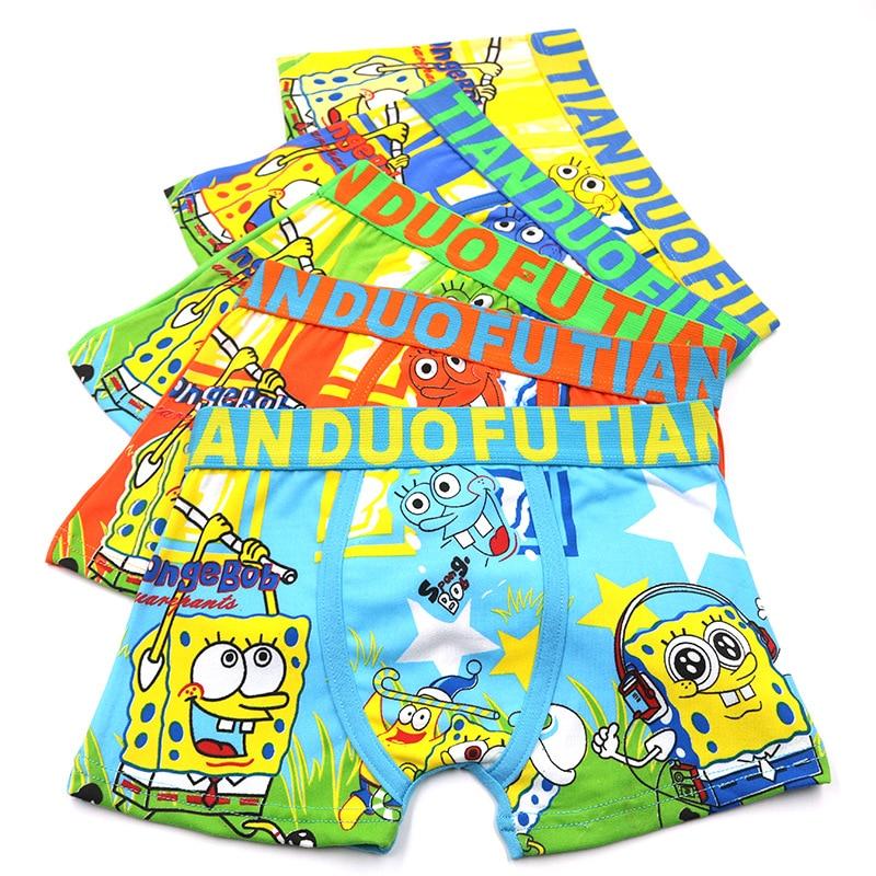 5Pcs/lot Boy Children's Sponge Bob Underwear Panties Batman Cartoon Boys Teenager Underwear For 3-10Y