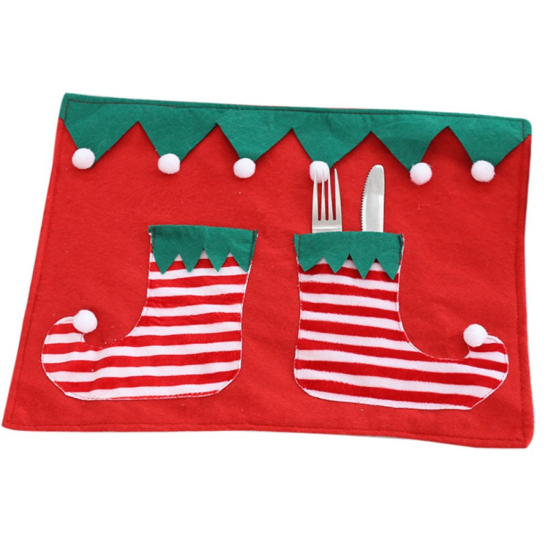 Cartoon Christmas Table Mat Bowl Knives Fork Placemat Table Decor For Xmas Dinner Party Christmas Place Mat