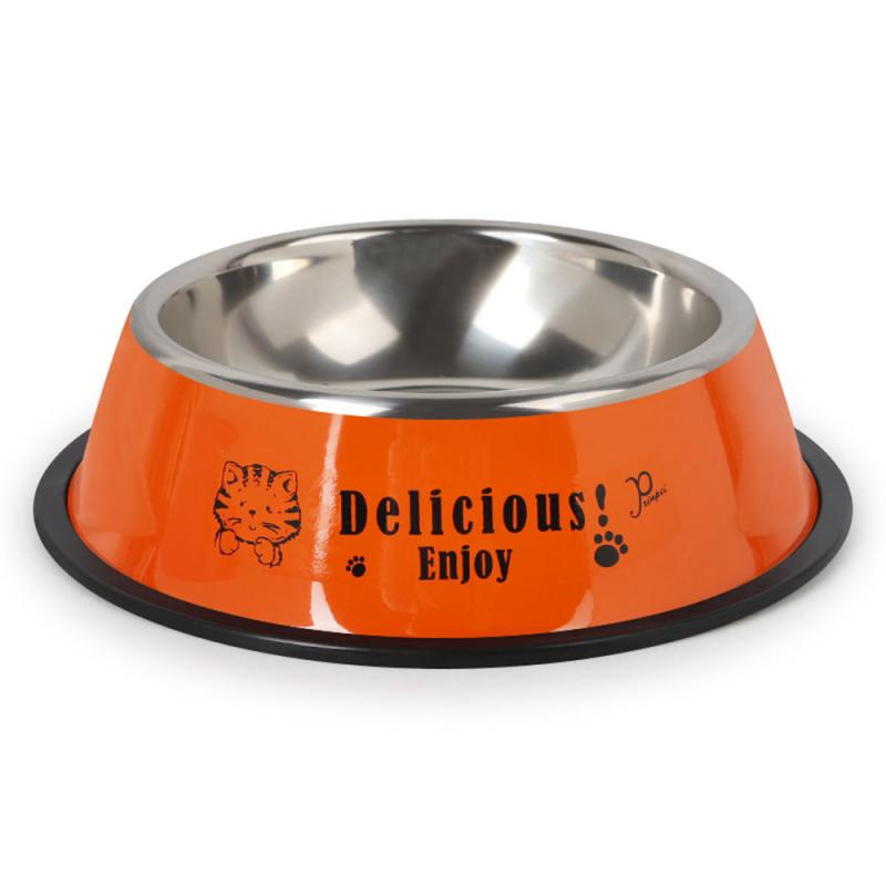 Durable Stainless Steel Non-Slip Dog Puppy Cat Animal Feeding Food Bowl Dish Random Color Water Bottle Food Dropshipping 16