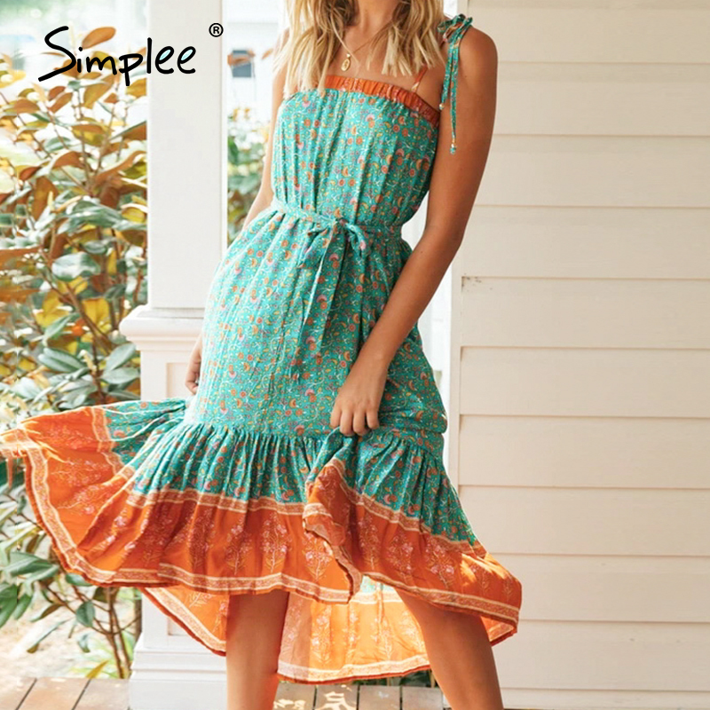 Simplee Boho Floral Print Summer Dress Sleeveless Ruffled Sash Retro High Waist Beach Dress Strap Holiday Tube Sexy Dress 2020