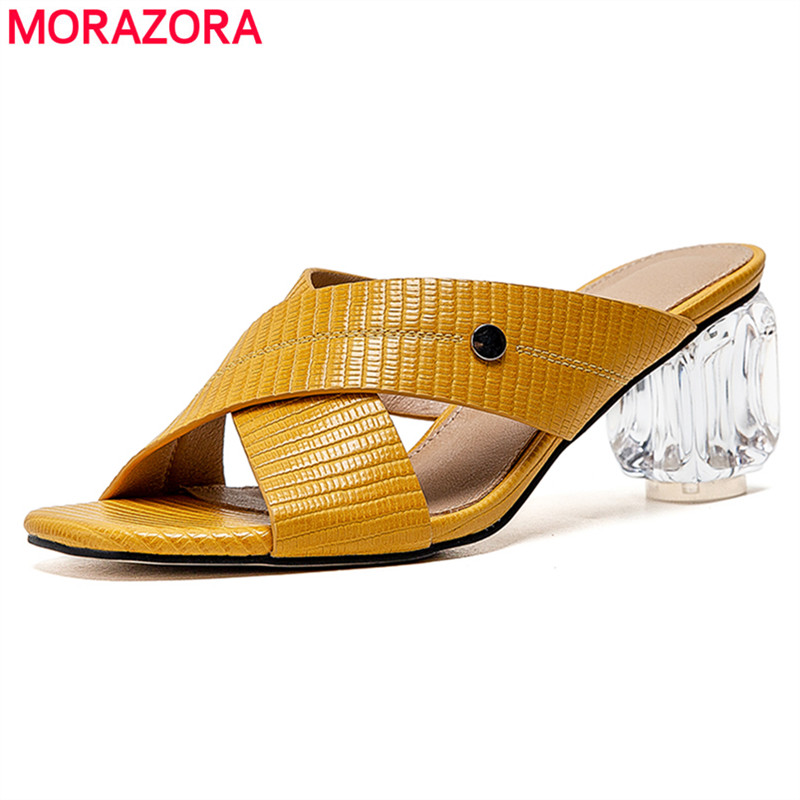 MORAZORA Big Size 34-43 New Fashion Shoes Crystal High Heels Sandals Women Summer Shoes Ladies Mules Dress Party Weeding Shoes