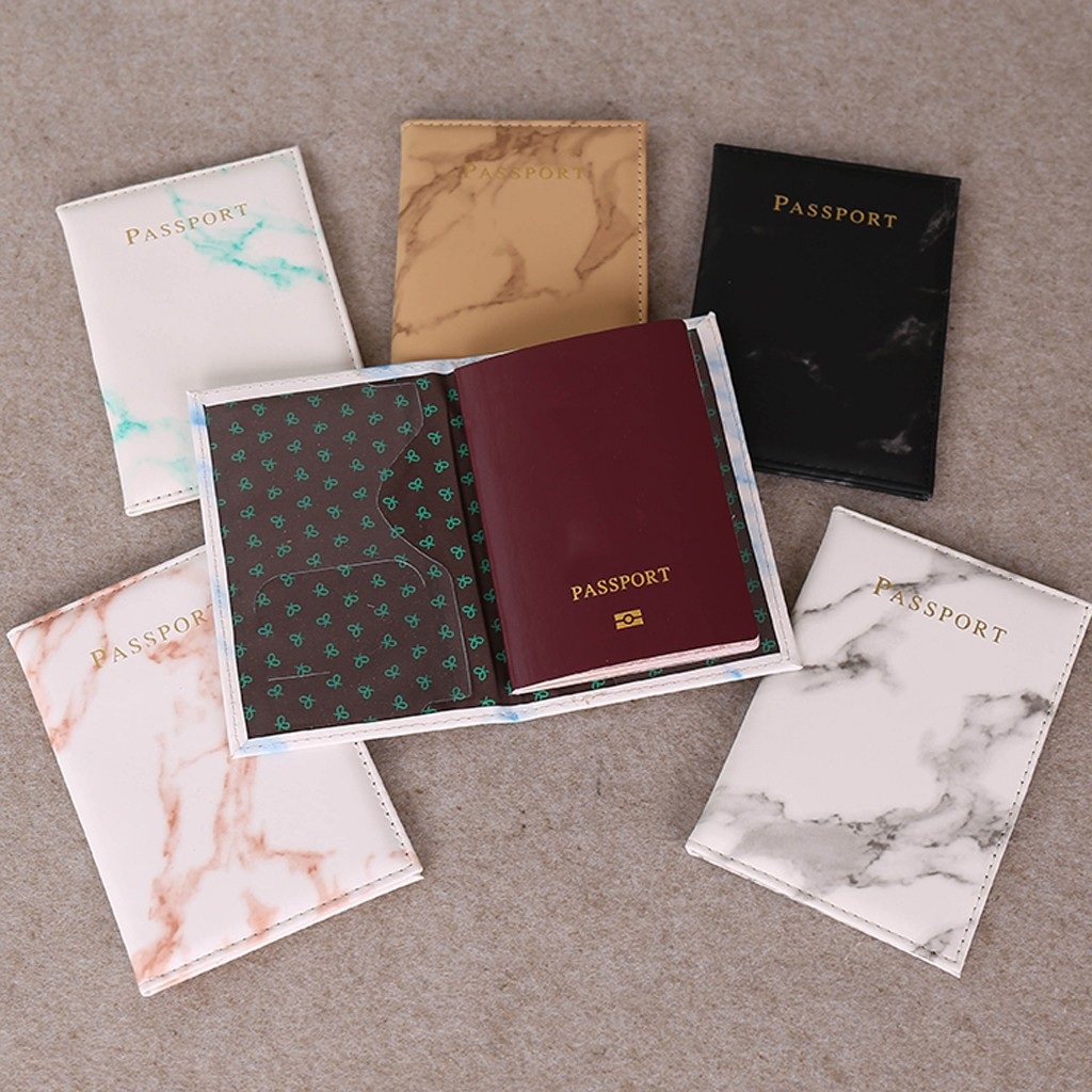 Colorful Marble Style Passport Cover Waterproof Leather Wallet Zipper Coin Purse Passport Packet Card Holder Travel Cover Case