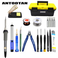 Electrical Soldering Iron Gray EU 220V 60W Adjustable Temperature Kit Welding Repair Tool Set with Tool Box 21pcs/lot