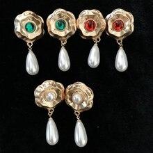 Free Shipping Teardrop Pearl Charm Earrings Vintage Elegant Women Drop elegant faux pearl crystal teardrop necklace and earrings