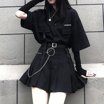 The New Fashion Suit Skirt Dark Black BF Wind Loose Shirt Women's Pleated Skirt Skirt Two-piece Set Outfits for Women 1