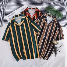2020 wiosna lato nowe hawaje męskie koszule z krótkim rękawem bluzka Top męski nadruk w paski luźne koszule na co dzień męskie koszule plażowe FM044 tanie tanio Poliester Skręcić w dół kołnierz NONE REGULAR Suknem Red Green Brown M L XL 2XL Dropshipping