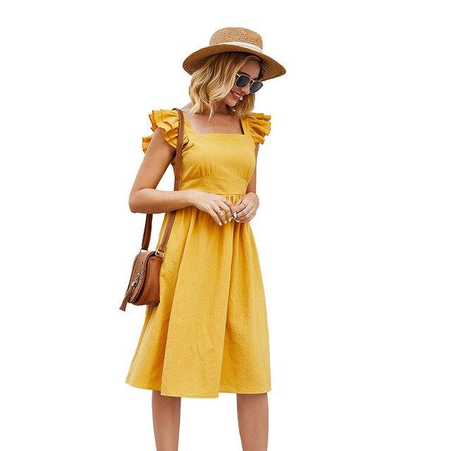 Sleeveless Dress Casual Mini Skirt Short Ruffled Sleeves 5