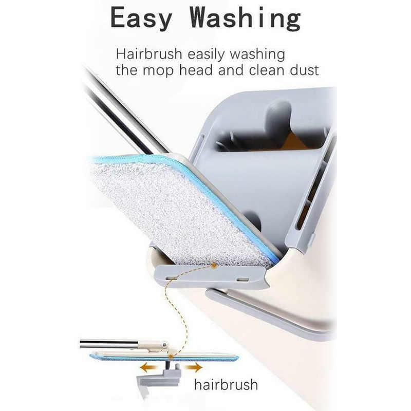 ممسحة دلو نظام يدوي ضغط 2 في 1 غسل الجاف مع قابلة لإعادة الاستخدام ممسحة ناعمة منصات P7Ding