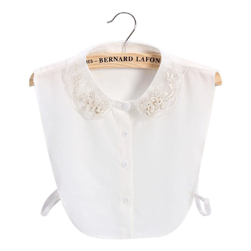 Women Sweet Chiffon Fake Collar Golden Embroidery Floral Faux Pearl Half-Shirt AXYD