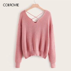 Image 2 - COLROVIE Plus Pearl zroszony na krzyż skręt sweter kobiet 2019 jesień elegancka różowy V neck swetry z długim rękawem na co dzień swetry