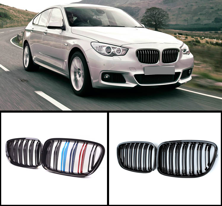 Black Gloss Front Grill Kidney Grille Double Rib for BMW GT GRAN TURISMO F07 2010-217
