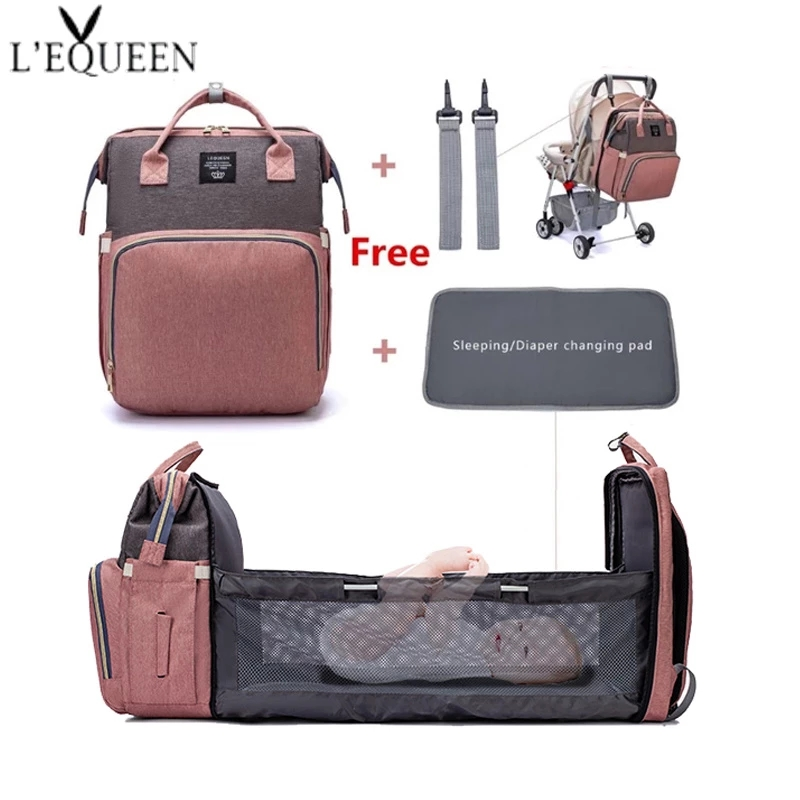 LEQUEEN Large Capacity Diaper Bag Backpack Multifunctional Baby Bed Bags Maternity Nursing Handbag Stroller Bag with Hooks Bag