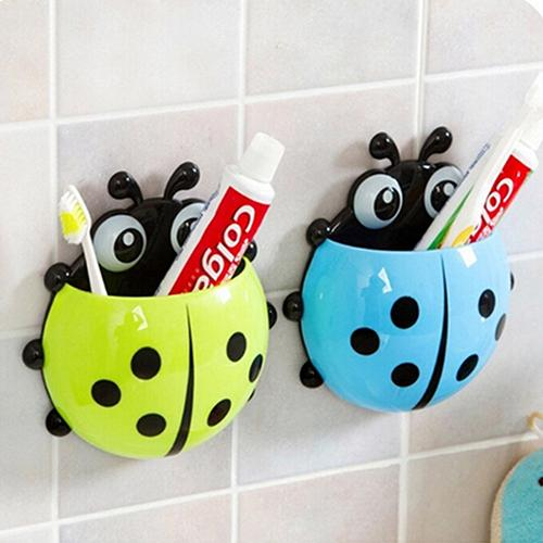 Hot Lovely Ladybug Toothbrush Holder Suction Ladybird Toothpaste Wall Sucker Bathroom Set Household Bathroom Supplie Cup Holder