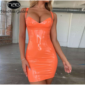 NewAsia Summer PU Leather Dress Women 2019 New Sexy Sleeveless Chic Bustier Club Party Dress Orange Backless Mini Bodycon Dress