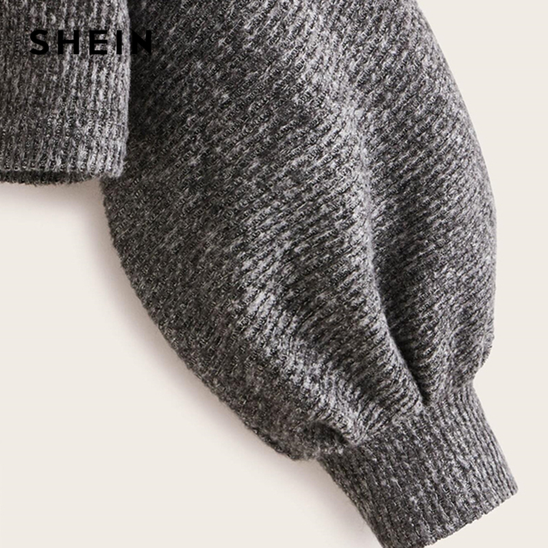 SHEIN Grey Boat Neck Ribbed knit Casual Top Women Autumn High Street Bishop Sleeve Office Ladies Basic T-shirts 3