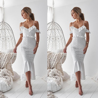 White Lace Homecoming Dresses Off Shoulder Short Sleeves Mermaid Graduation Party Dress Junior Gown In Stock