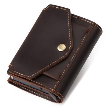 Superior New Man Vintage RFID Blocking Money Wallet Automatic Pop-up Credit Card Case Business Purse Cash Coin Pocket for Men 1