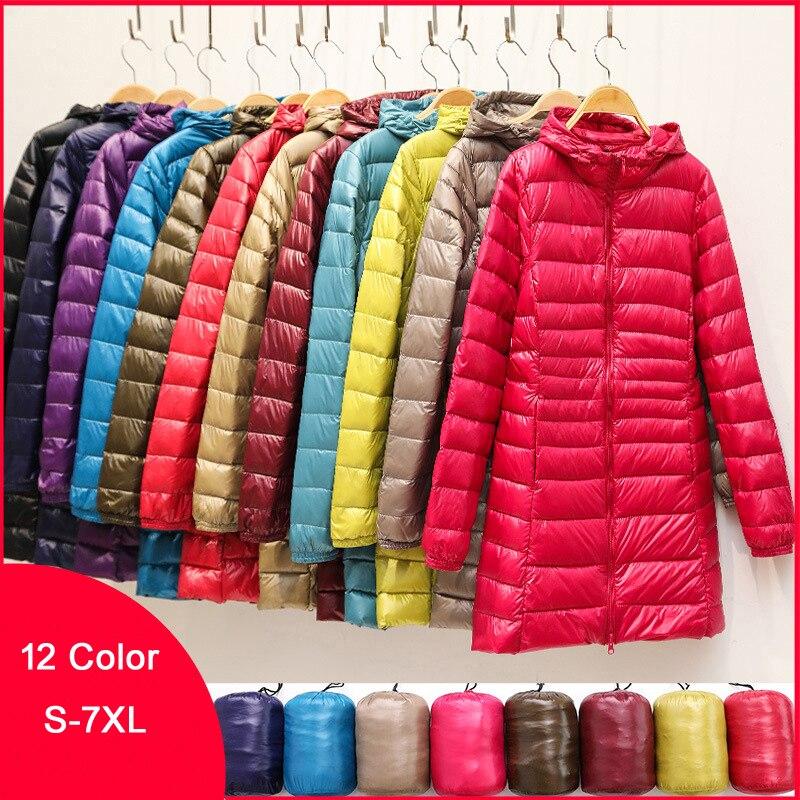 Женские куртки-пуховики на утином пуху зимнего размера плюс, ультралегкие женские пуховики с капюшоном, портативные длинные парки, стегано...
