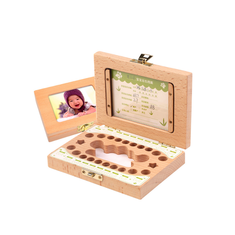 Deciduous Wooden Photo Frame Tooth Box Organizer Milk Teeth Storage Umbilical Lanugo Save Collect Baby Souvenirs Gift Wood
