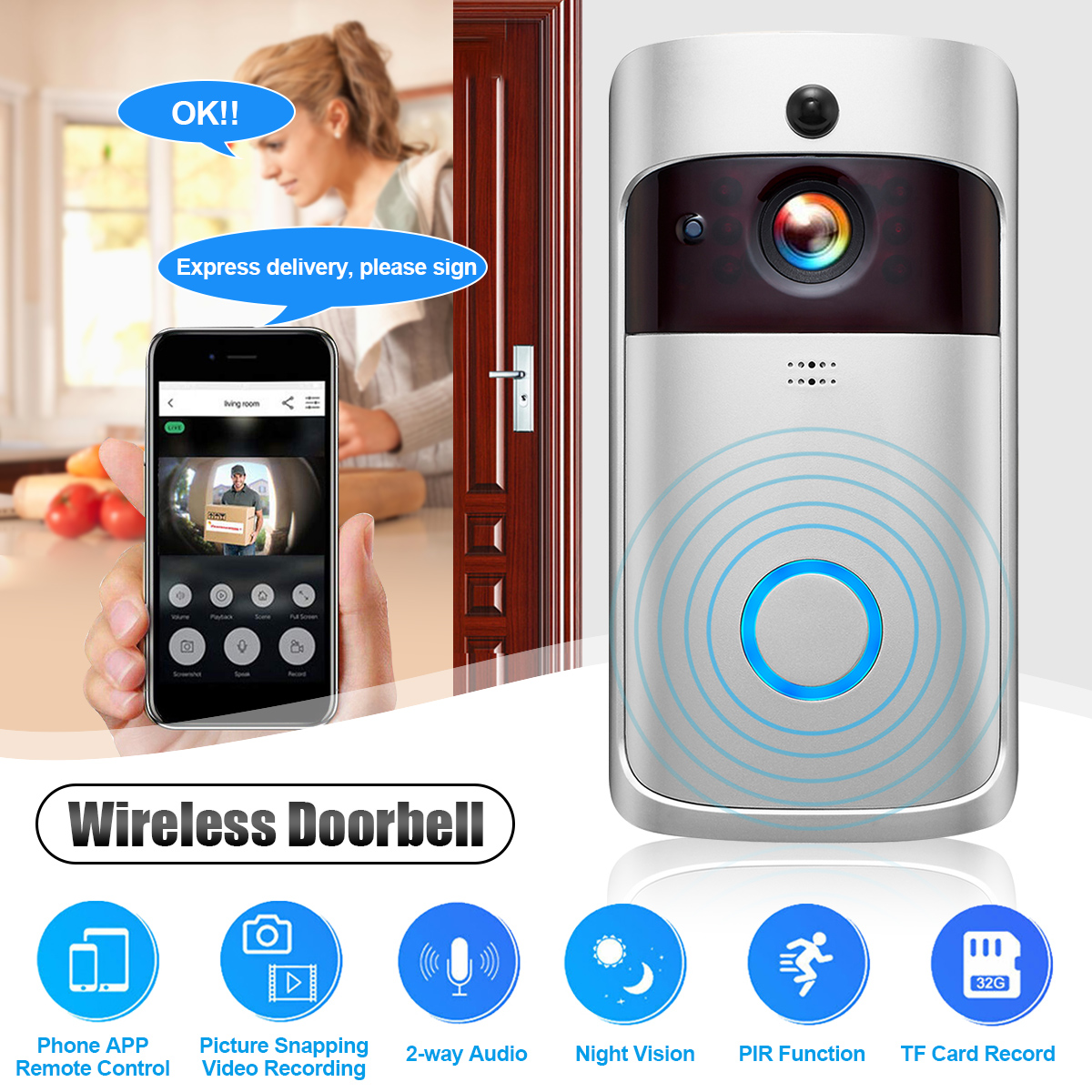 720P Smart WiFi Video Doorbell Camera Visual Intercom With Chime Night Vision IP Door Bell Wireless Home Security Camera