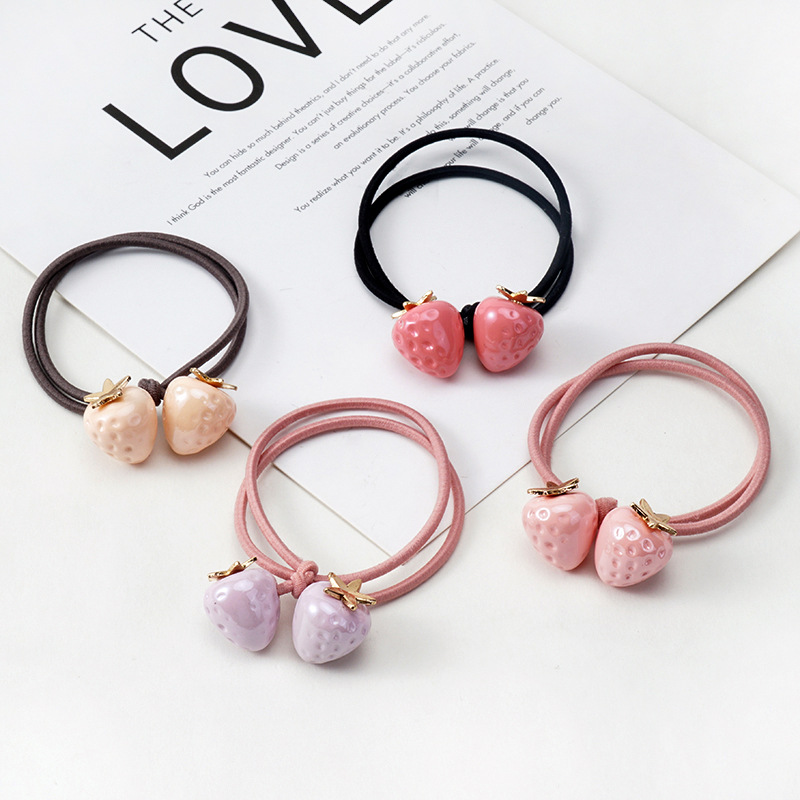 1PCS Candy Color Strawberry Ball Hair Accessories For Women Girls Headband Korean Elastic Children Rubber Bands Ponytail Holder