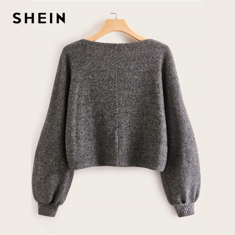 SHEIN Grey Boat Neck Ribbed knit Casual Top Women Autumn High Street Bishop Sleeve Office Ladies Basic T-shirts 2